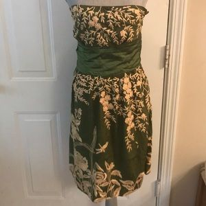 Tracy Reese Womens Green Silk Strapless Dress NWT